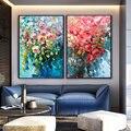 100% Hand Bemalt abstrakten Blume Kunst Ölgemälde Auf Leinwand Wand Kunst Rahmenlose Bild Dekoration Für Live Room Home Decor geschenk-in Malerei und Kalligraphie aus Heim und Garten bei