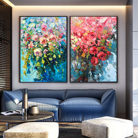 100% Hand Painted Colorful Flowers Art Oil Painting On Canvas Wall Art Wall Adornment Pictures Painting For Live Room Home Decor