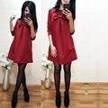 TAOVK design Rússia estilo Primavera das Mulheres Na Altura Do Joelho-Comprimento Vestidos Verde/Red Bow Vestidos para senhoras