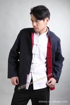 Chinese Tradtional Costume Men's Double-faced Linen Jacket Coat Size M - 3XL