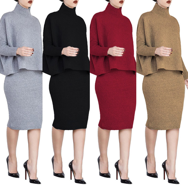 Knitted plus size dress set skirt and sweater top split pencil ...