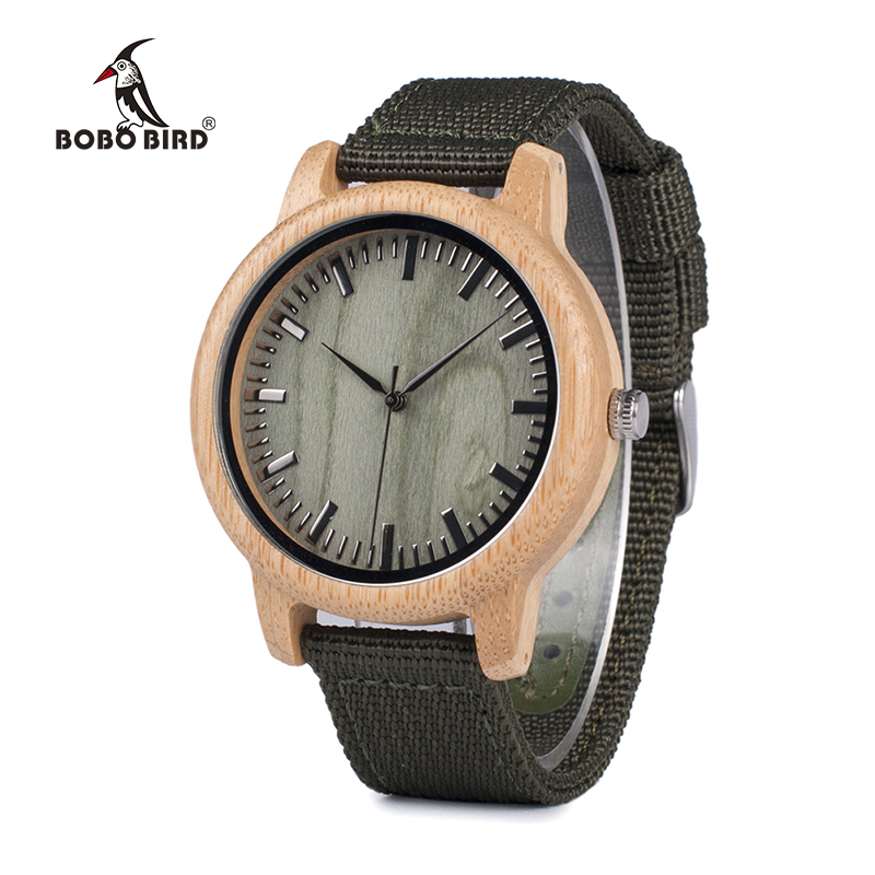 BOBO BIRD Men Watch Wood Bamboo Watches Women Quartz Wooden Wristwatch Male Relogio Masculino Green Dial Nylon Strap In Wood Box