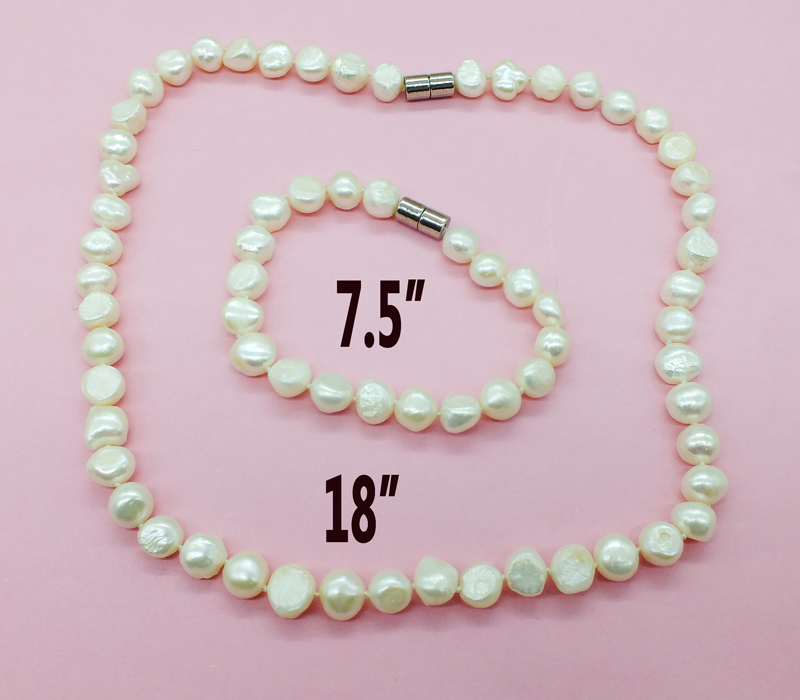 9MM natural pearl !! white freshwater Baroque Pearl necklace Bracelet set ( Suction powerful magnetic buckle )