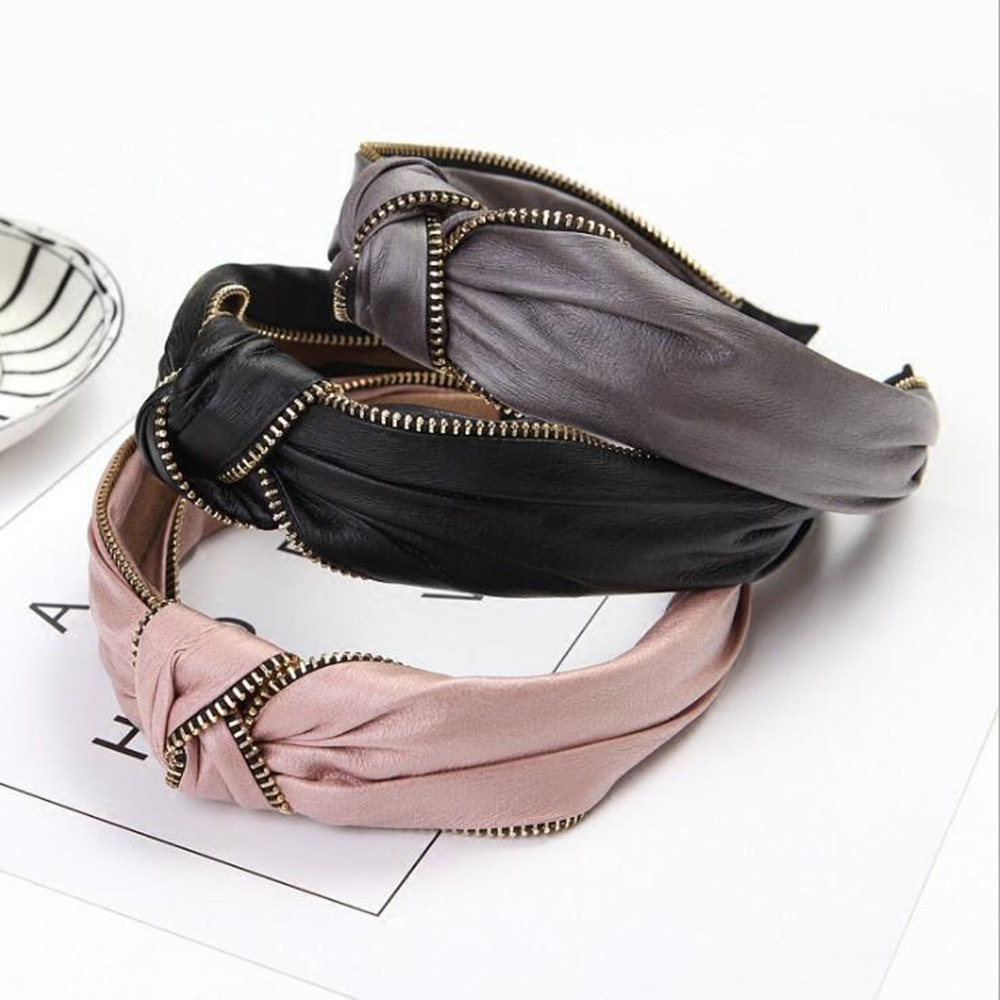 2019 Vintage Women's Hair Band Hairband Solid Leather   Headwear   Zipper Decoration Headband Wide Side Hair Accessories For Female