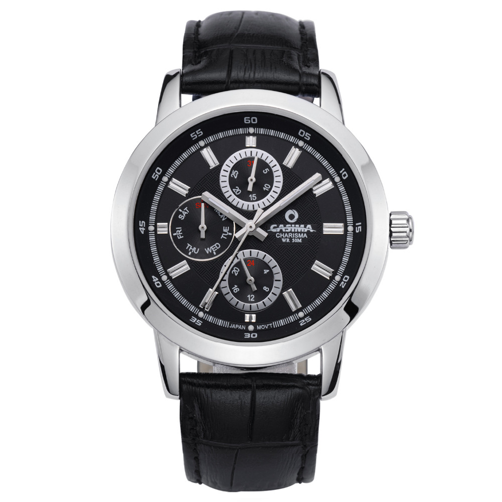 Men wrist watch Fashion business watch dress leisure Luxury brand watches quartz mens black leather waterproof 50m CASIMA #5105