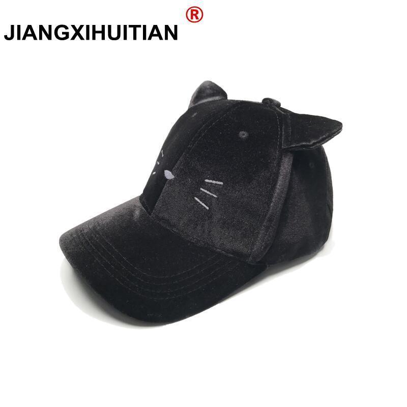 Winter pompom black suede baseball cap Women autumn casual streetwear black  ear cap 2018 Elegant female hat cap 3b127fa5ae4