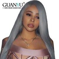 Guanyuhair Silver Grey Full Lace парики человеческих волос Remy прямо предварительно Plcuked отбеленные узлы Кружева парик с волосами младенца 150% Плотность