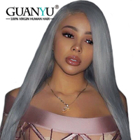 Guanyuhair Silver Grey Full Lace Wigs Human Hair Remy Straight Pre Plcuked Bleached Knots Lace Wig With Baby Hair 150% Density