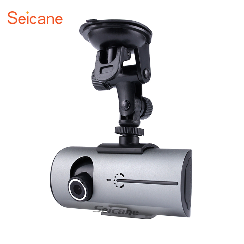 Seicane 2 Lens GPS Car DVR Camera Video Recorder with HD Video Recorder Front View and 120 Degree Rear View Camera Microphone