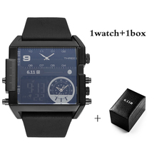 6.11 Luxury Brand Mens Square Watches Fashion Multiple Time Watch Waterproof LED Digital Men Sport with Box