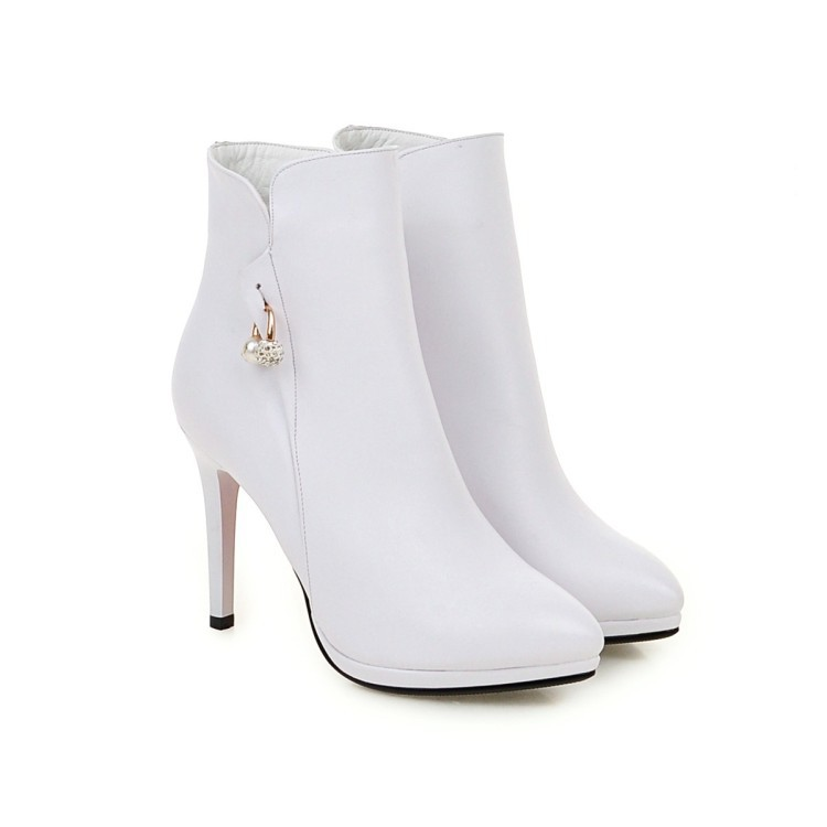 2018 New Single High Heel Ankle Boots Stiletto Diamond Pointed Toe Wedding  Shoes Zipper Booties Woman 208b7fd0d381