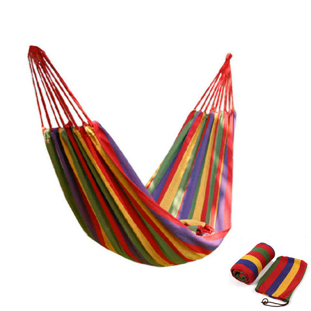 Portable Outdoor Hammock Garden Sports Home Travel Camping Swing Canvas Stripe Hang Bed Hammock Red, Blue 180 x 70cm