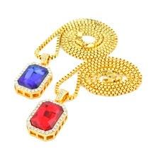 Helado-Out Bling Rhinestone Collares Conjunto Rojo/Azul Piedra Enlace Colgante y Cadena Para Hombres 2015 Nuevo para hombre de Hip Hop de la Cadena