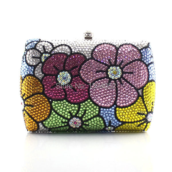 Flowery hard case crystal clutch evening bag box party bling hot selling women bags women custom name crystal big diamond clutch full crystal hot selling 2017 new fashion evening bags 1001bg