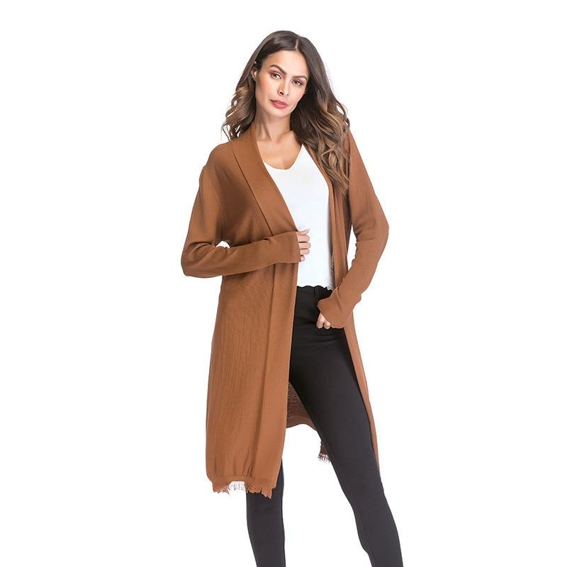 THIN Long Cardigan Ladies 2018 Autumn Fashion Long Knit Sweater Women Large  Coat Casual Black Jacket 9c05e9534ed9