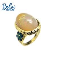 Bolaijewelry, натуральный Опал Камень Роскошные кольцо с эмалированным цветком 925 пробы желтый цвет серебро ювелирных украшений для женщин подар