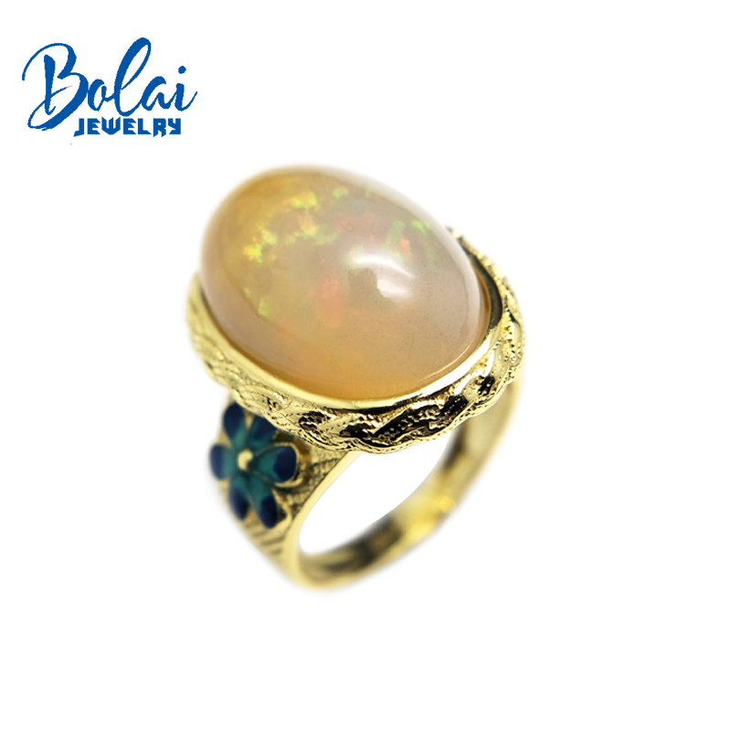 Bolaijewelry,Natural Opal Gemstone Luxury Enamel Flower Ring 925 Sterling Yellow Color Silver Fine Jewelry For Women Gift