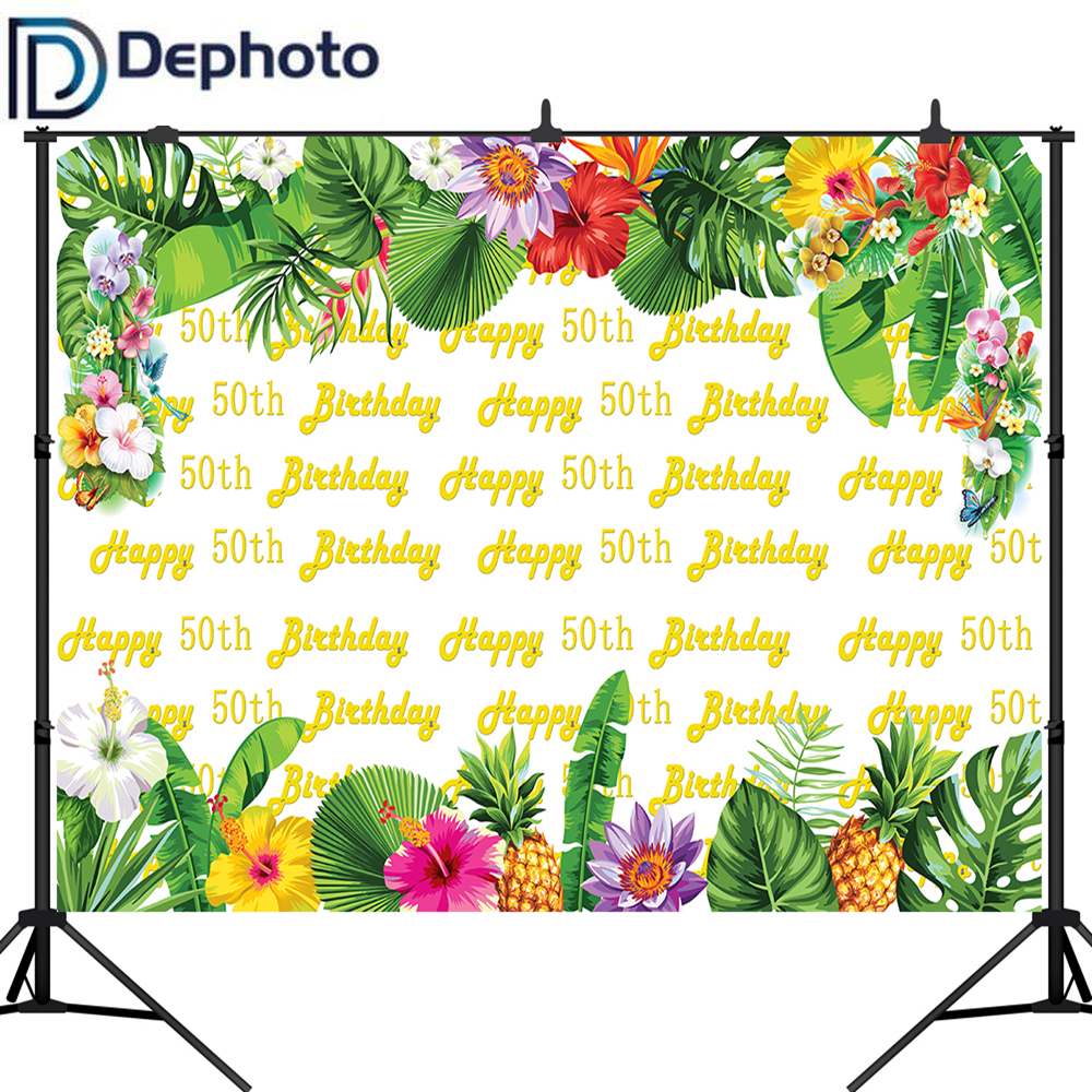 DePhoto <font><b>Happy</b></font> <font><b>50th</b></font> <font><b>Birthday</b></font> Party Photography <font><b>Backdrops</b></font> Printed Tropical Style Flowers Fruits Custom Photo Booth Background image