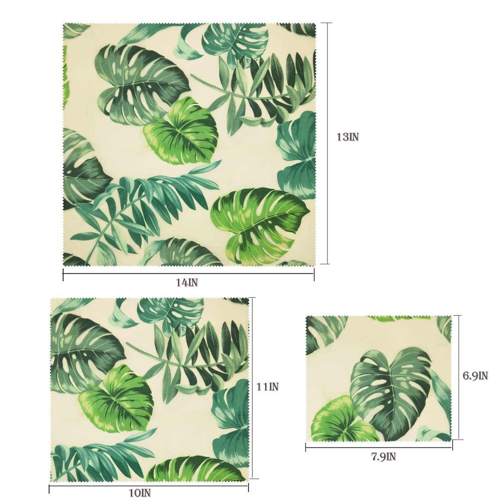 Визуальный сенсорный ладонь органический пчелиный воск ткань сэндвич пакет свежего хранения мешок крышка пищевая пчелиный воск обертывание стрейч уплотнение - Цвет: Palm Leaves