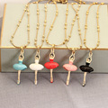 New Pattern Enamel Glaze Ballet Girl Dancer Long Chain Electroplate Gold Plated Woman Necklace Jewelry