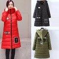 2016 Más El tamaño de mujeres de la manera linda con capucha wadded prendas de abrigo de invierno cálido ropa larga de algodón acolchado trench mujer abrigo acolchado chaqueta 4XL