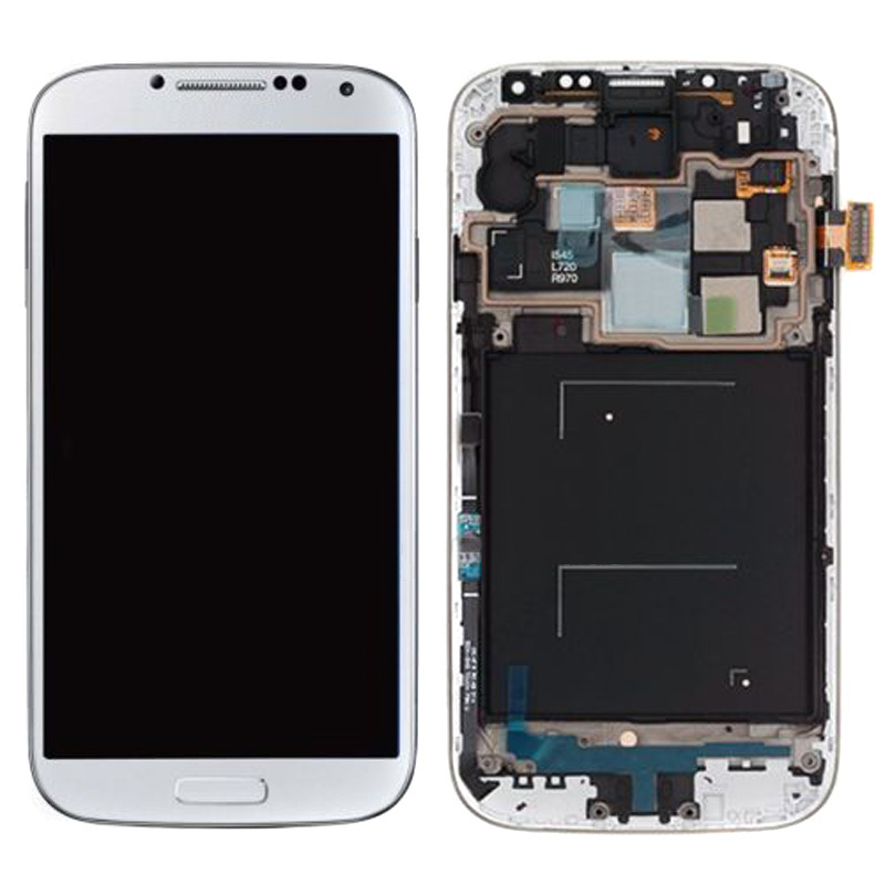 White LCD Display Touch Screen Digitizer Assembly With Frame For Samsung Galaxy S4 i545 L720 R970 Free Shipping