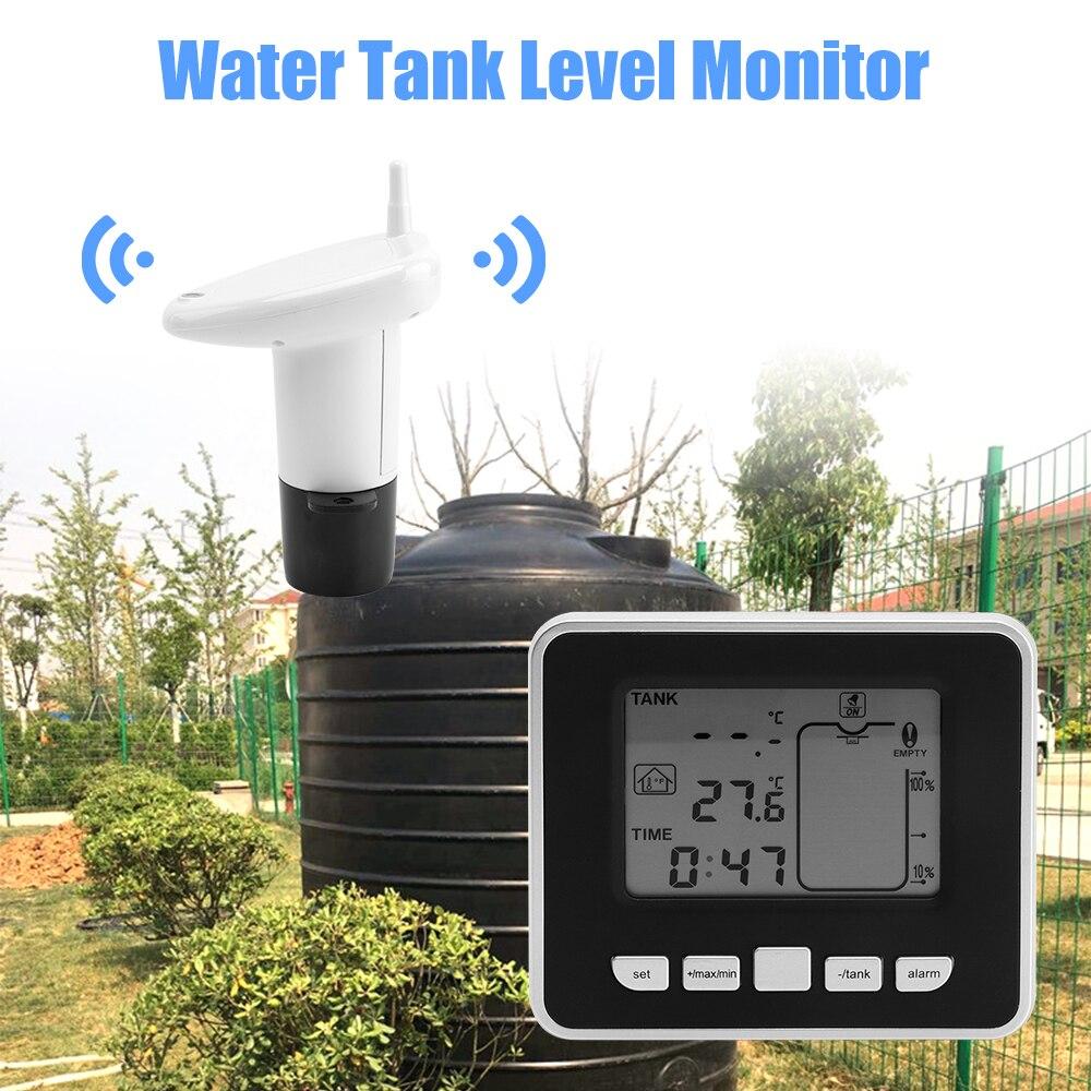 Ultrasonic Wireless Water Tank Level Meter Sensor With Temperature Time Display Alarm Liquid Depth Level Gauge
