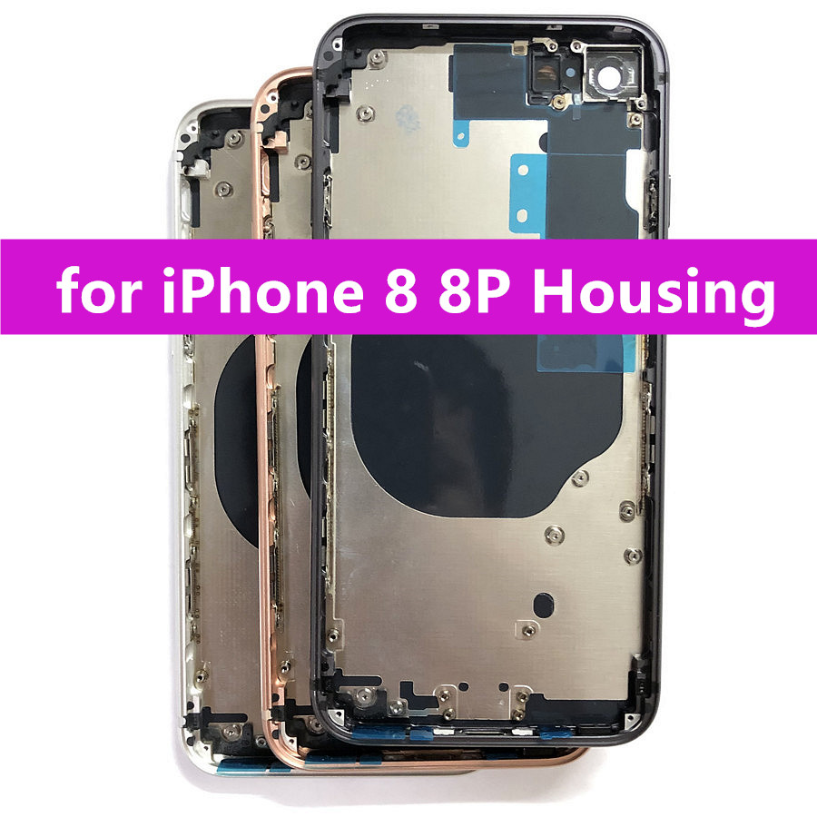 Replacement Parts for iPhone 8 8 Plus Rear Housing Middle Frame and Back Glass Cover with Small Parts(China)