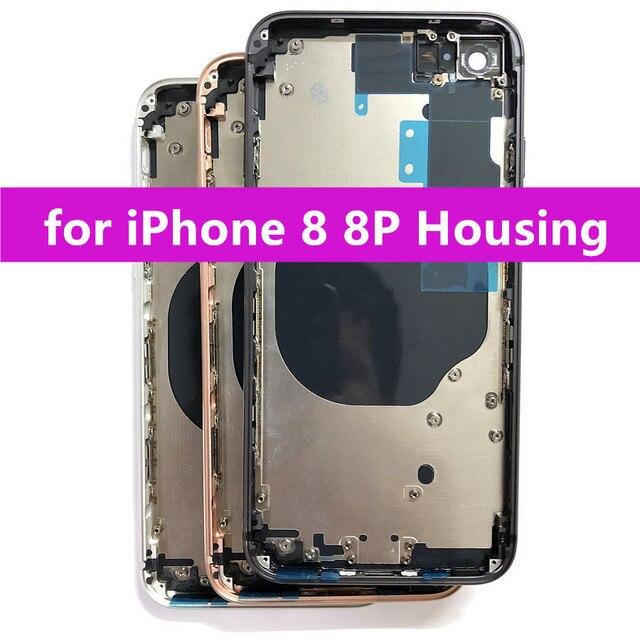 Piezas de repuesto para iPhone 8 8 Plus carcasa trasera marco medio y cubierta trasera de vidrio con piezas pequeñas