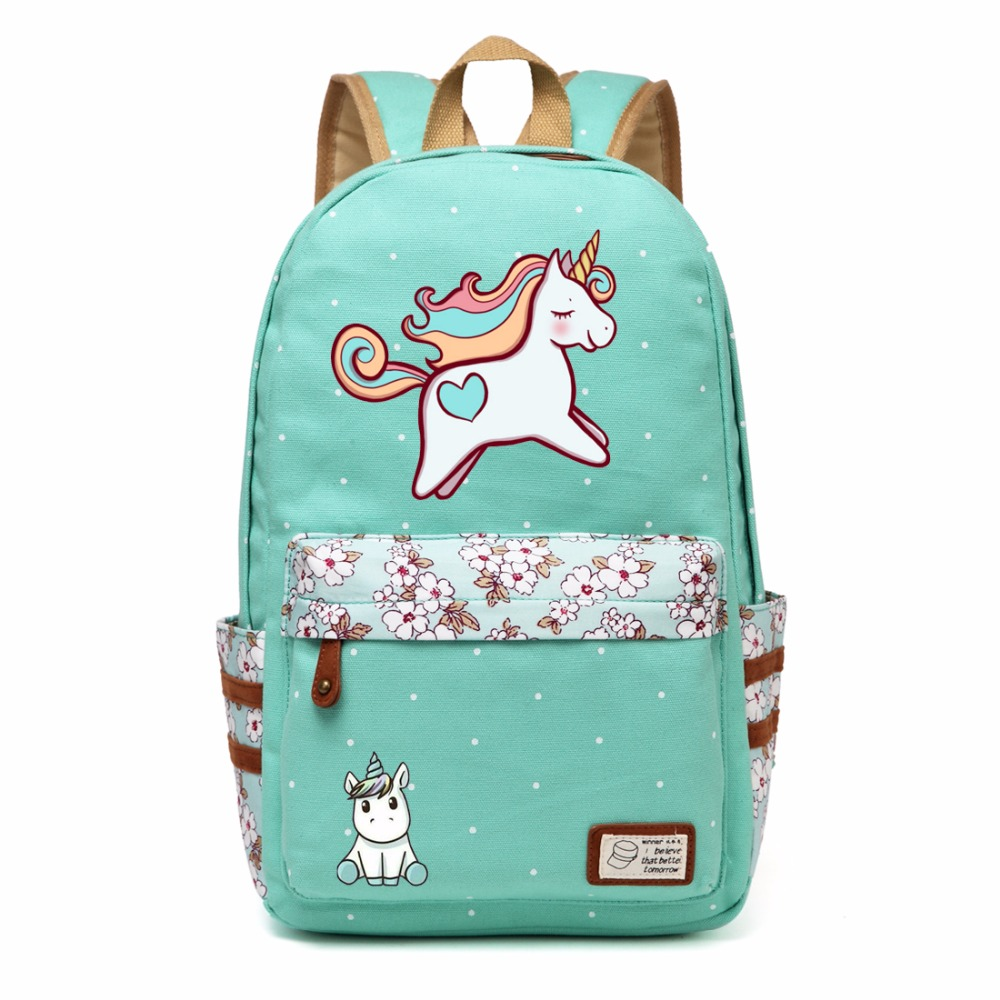Wishot Dab Unicorn Cartoon Backpack Shoulder Travel Bag For Teenagers Girls Women Canvas Dot School Bag