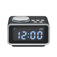 Multi Function LCD FM Radio Alarm Clock Snooze Indoor Thermometer Dual USB Port Charger Clock HG99