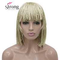 StrongBeauty Short Bob Braided Box Braids Blonde Wig Full Coverage Synthetic Wigs COLOUR CHOICES
