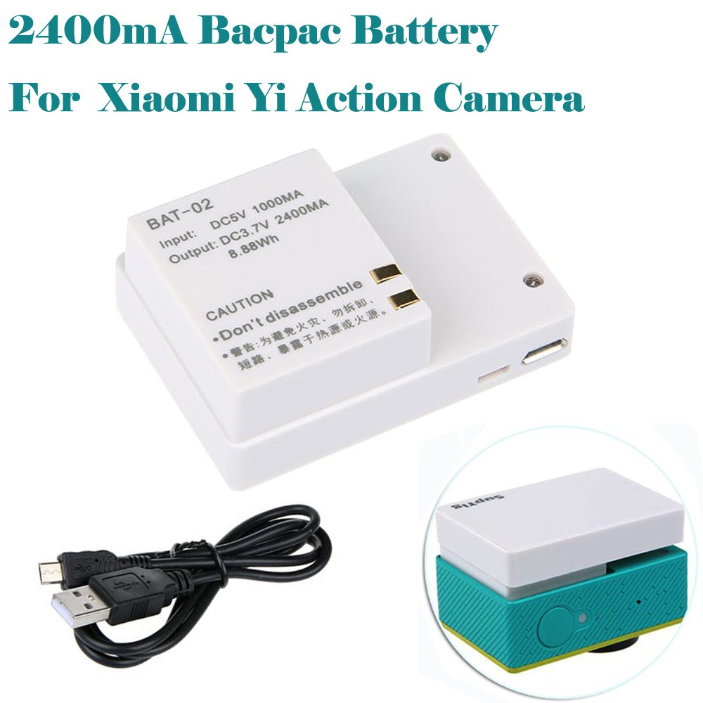 Xiaoyi Battery 2400mAh External bacpac Battery for Xiaomi Yi sport camera accessories image