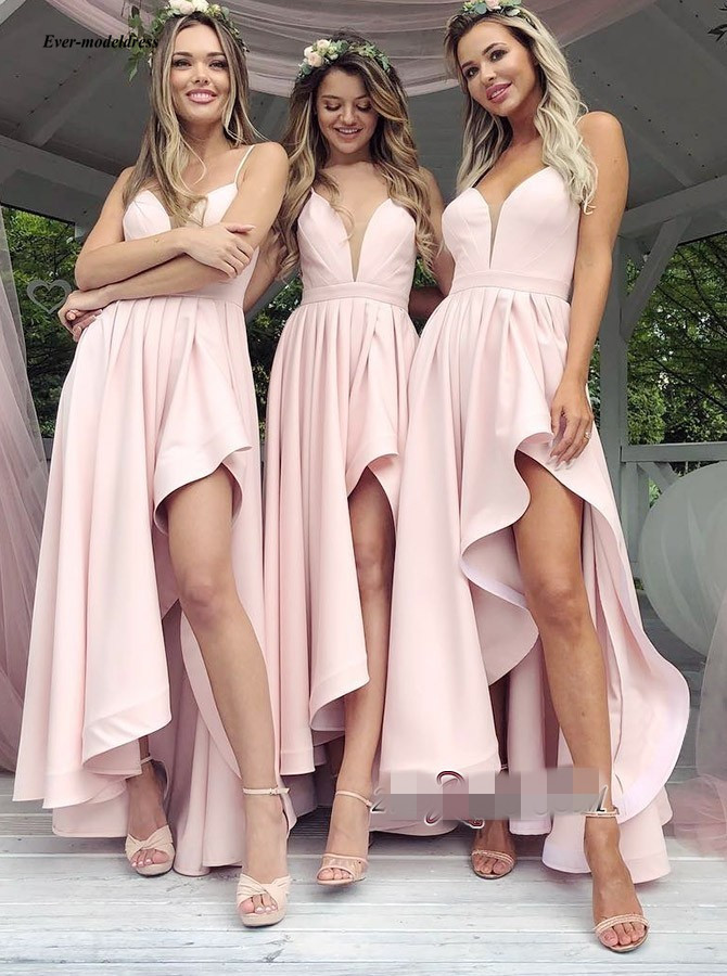 Pink High Low   Bridesmaid     Dresses   New 2019 Hi-Lo Spaghetti Straps V Neck Maid Of Honor   Dresses   Garden Country Cheap Custom Made