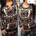 New 2016 spring/Autumn/winter women's sweater blazer cardigan blue white porcelain printed loose long-sleeve sweaters