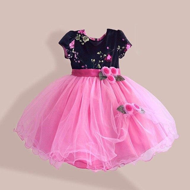 Terciopelo niñas diseñador vestido de niña de las flores vestidos de ...