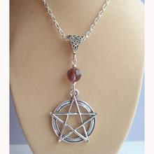 Purple Crystal Bead & Pentacle Pentagram Design Necklace For Women Wicca Pagan Witch Pendant Necklace Collier Choker Bijoux(China)
