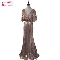 Розовое Золото Русалка блестками платья невесты глубокий v образный вырез спинки Летние свадебные гость платья Леди Вечерние платья ZD003