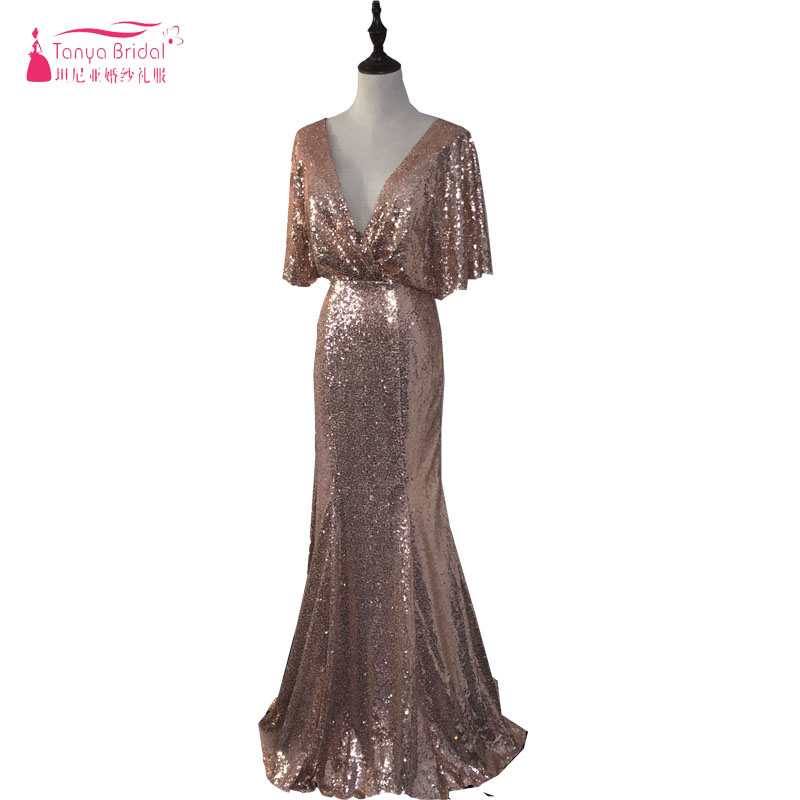 Rose gold mermaid sequined bridesmaid dresses deep v neck for Backless wedding guest dresses