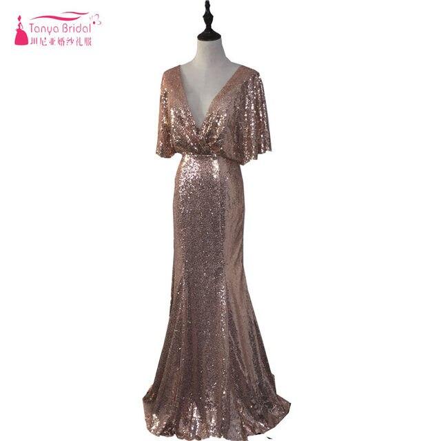 Online Shop Rose Gold Mermaid Sequined Bridesmaid Dresses deep v ...