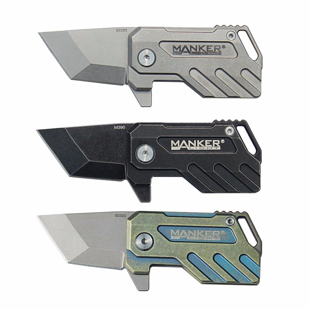 Manker Elfin Stonewash Titanium TC4 Liner Lock M390 Steel Folding Mini Keychain Knife Tool (3 Style Option) enlan l05 1 folding knife with liner lock