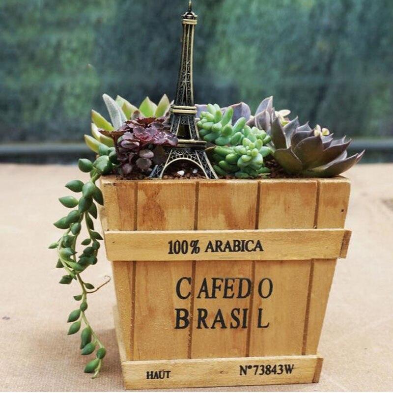 10set/lot Vintage Wood Planter Square Meat Plant Flower Pot Wooden Color Succulent Pots For Home Garden Decor ZA4567