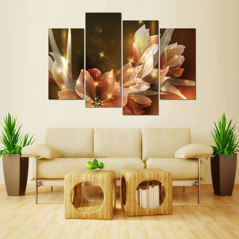 Framed Sunset flowers Modular pictures Modern Home Decoration Living Room or Bedroom Canvas Print Wall picture in Painting Calligraphy from Home Garden