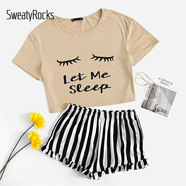 Letter Print Tee And Striped Ruffle Shorts 3