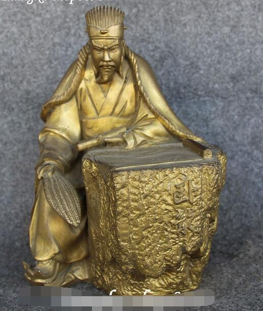 9 China Pure Bronze Shu Han Chief Wolong Zhu GeLiang Kong Ming Hold Fan Statue9 China Pure Bronze Shu Han Chief Wolong Zhu GeLiang Kong Ming Hold Fan Statue