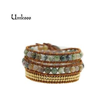 Women Bohemian Bracelets Vintage Leather Wrap Bracelet 3 Multi-layer Strands Woven Copper Beads