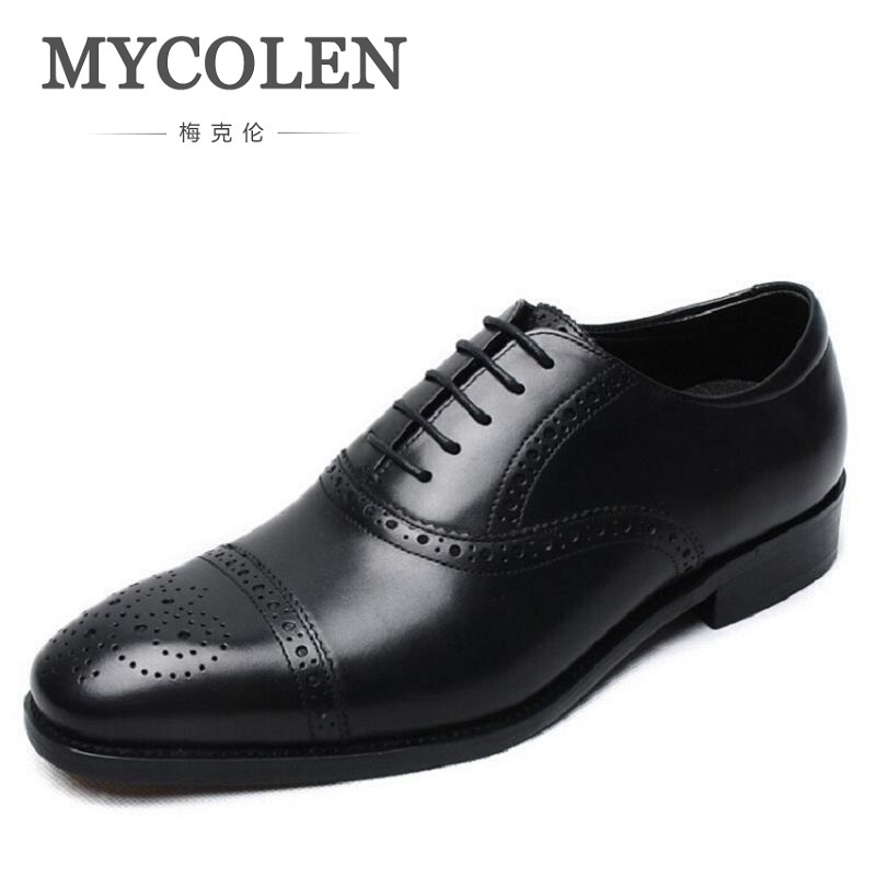 MYCOLEN Men Flat Cowhide Leather Carved Men Oxfords Lace-Up Business Men Shoes Round Toe Men Dress Shoes Black Erkek Ayakkabi mycolen new arrived brand men shoes black oxfords shoes pointed toe men flat business formal shoes lace up men s dress shoes