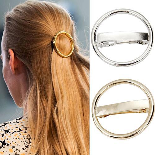 Fashion Women's Hairpin Punk Circle Golden Silver Alloy Round Hair Clip Clamp Headwear
