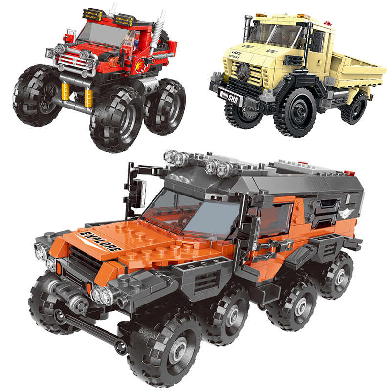 500 + pc di Serie Auto Tutto Il Veicolo Del Terreno Set di Blocchi di Costruzione del Modello di Mattoni Giocattoli Per I Bambini Regali Educativi Compatibile con blocco