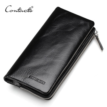 CONTACT'S 2018 New Classical Genuine Leather Wallets Vintage Style Men Wallet Fashion Brand Purse Card Holder Long Clutch Wallet